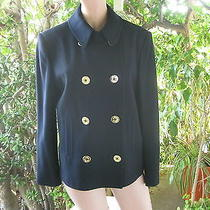 Ralph Lauren  Peacoat  Nautical Gold Anchor Buttons Chin Strap Happy Holidays Photo