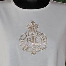 Ralph Lauren Petites Signature Gold Bling White Tee Pl Photo