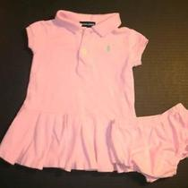 Ralph Lauren Pink Polo Dress Set 12m Pleated Skirt Photo