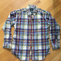 Ralph Lauren Polo Boys Long-Sleeve Plaid Button-Down Shirt Blue Red Sz M 10-12 Photo