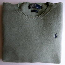 Ralph Lauren Polo Men's Sweater Xl Light Green Long Sleeves Warm Lambs Wool Photo