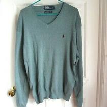 Ralph Lauren Polo Mens Sweater New L 100% Pima Cotton Green Teal v-Neck Photo