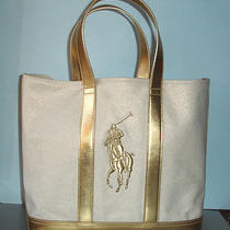 Ralph Lauren Polo Pony Canvas & Metallic Gold Leather Trim Tote Bag New Photo
