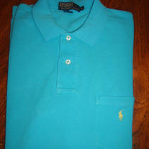 Ralph Lauren Polo S/s Mens Xl Aqua Blue Teal Polo Shirt W/ Green Pony on Pocket Photo