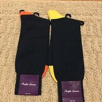 Ralph Lauren Purple Label Mens Socks Yellow Orange Navy Nwt Lot of 2 New Photo