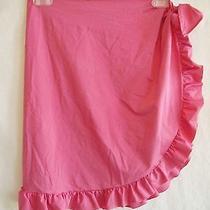 Ralph Lauren (Purple-Label) Pink Stretch-Nylon Sarong Cover-Up Tie Skirt Sz S Photo