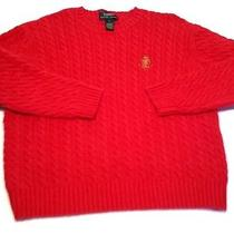 Ralph Lauren Red Cable Knit Sweater Shirt Womens Size Large Photo