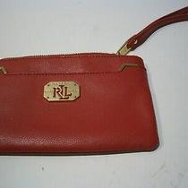Ralph Lauren Red  Leather Wristlet   Wallet With Gold Logo  Photo