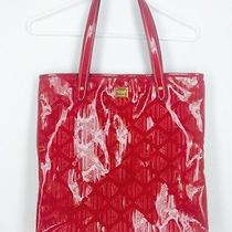 Ralph Lauren Rl Pattern Shiny Red Tote Purse Bag Gold Accents Faux Leather Photo