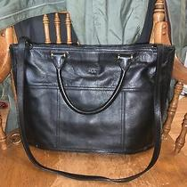 Ralph Lauren Rll Black Leather Shoulder Purse Bag Long Strap Handles Photo