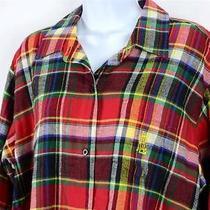 Ralph Lauren Rlr Pajama Women's Night Shirt Plaid Brush Cotton L Gift Card Photo