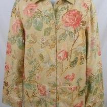 Ralph Lauren Rose Print on Beige Linen/cotton Barn Jacket S Photo