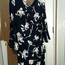 Ralph Lauren Sheath Dress Stretch Flattering Cross Front Navy Blue Size 12 Photo
