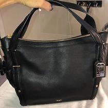 Ralph Lauren Side Quilt Black Leather Shoulder Bag. Euc Photo
