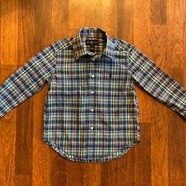 Ralph Lauren Size 4 Blue Plaid Boys Button Up Collared Shirt Long Sleeve Euc Photo