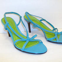 Ralph Lauren Size 6 1/2 B Aqua Turquoise Leather High Heel Strappy Sandals Photo