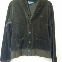 Ralph Lauren Size M Ladies Velvet Shawl Collar Cardigan Green Label Photo