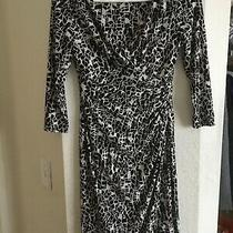 Ralph Lauren Stretchy 2p Black White Speckle Dress Pleat Waist v Neck3/4 Sleeve Photo