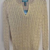 Ralph Lauren Sweater Gold Cables With Split Neck sz.xs Nwt 89         Photo