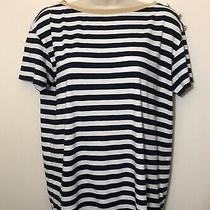 Ralph Lauren Top Medium Navy Blue White Stripe Short Sleeve Gold Trim  Boat Neck Photo