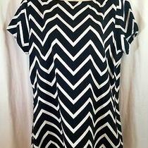 Ralph Lauren Top Stretch Blouse Black White Zig Zag Stripe Size Xl Green Label Photo