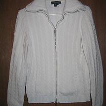Ralph Lauren White Cable Knit Sweater Jacket Cable Knit M Medium Photo