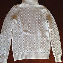 Ralph Lauren White Cable Knit Sweater S Photo