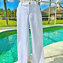 Ralph Lauren-White Flat Front Stretchy Straight Leg Cotton Pants-8-New 80 Photo