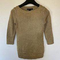 Ralph Lauren Womens Black Label Gold Metallic Cable Knit 3/4 Sleeve Sweater S Photo