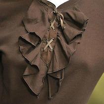 Ralph Lauren Women's Brown Faux Suede Lace Up Ruffled Shirt Blouse Sz Xl Nwt Photo