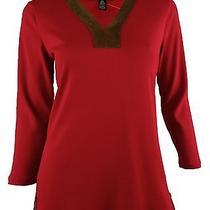 Ralph Lauren Women's Petite v-Neck Faux-Suede-Trim Shirt Top-Vr-Pm Photo