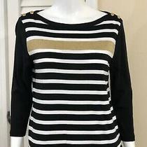 Ralph Lauren Women's Size Pl Sweater Top Petite Striped Boatneck Gold Buttons Photo
