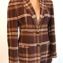 Ralph Lauren Womens Brown Plaid Lambs Wool Blazer 8  Jacket  Photo