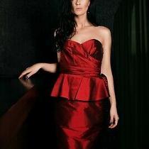 Ralph Lauren Womens Red Satin Strapless Dress Sweetheart Neck Size Us8/m Photo