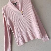 Ralph Lauren Xl Pink Ribbed Sweater Top Knit Gold Crested Button 14 16 Blush Photo