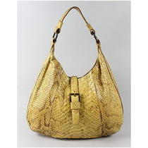 Ralph Lauren Yellow Snakeskin Hobo Shoulder Handbag Photo