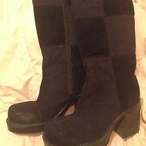 Rampage 6.5m Corduroy Patch Black Boots Chunky Heel Grunge Goth 90s Vtg Photo