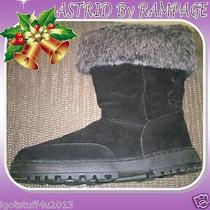 Rampage Astrid Sz 10 Black Winter Boot Mid-Calf Faux Fur Cuff Micro Suede Jj465 Photo