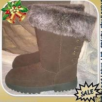 Rampage Astrid Sz 5 Brown Winter Boot Mid-Calf Faux Fur Cuff Micro Suede Jj462 Photo