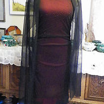 Rampage Black Beaded Chiffon Over Red Clubwear Formal Cocktail Evening Dress M Photo