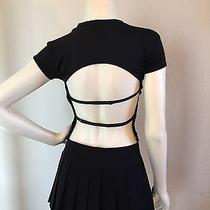 Rampage Black Crop Top With Open Back and Straps Size Small Photo