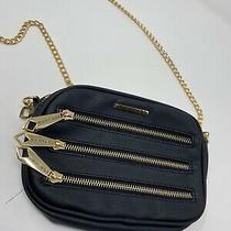 Rampage Black Crossbody Purse With Multiple Zippers Gold Chain Strap Read Photo