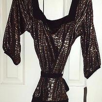 Rampage Black Gold Top Blouse Tunic Belt Shirt Sz Medium M Nwt Photo