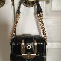 Rampage Black Mini Bar Faux Patent Leather Vegan Clutch Handbag Purse Nwot Photo