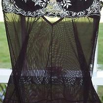 Rampage Black Sheer Embroidered Teddy Camisole Lingerie Sz Small Sexy Photo