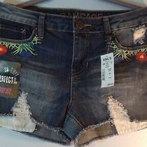 Rampage Blue Denim Shorts Sophie Mid Rise Size 9 With Embroidery Photo