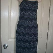 Rampage Blue Shimmery Zig Zag Form Fitting Prom Dress Sz S 32