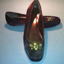 Rampage Brown Satin Ballet Flats With Big Jewels Buckle10 Mqualitynice Photo