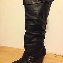 Rampage Eldi Women's Black Fashion Knee-High Boots Buckles Size 8 M Euc Photo