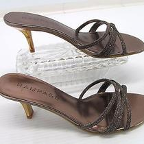 Rampage Frankie-9 Womens Brown Glitter Gold Heel Slide Shoes Sandals 8.5m A5 Photo